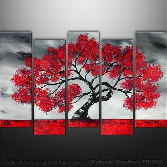 Abstract Painting, Tree Painting, Landscape Painting, Large Painting, Wall Art, Wall Decor, Art by  Gabriela, Black White red, Made To Order
