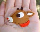 RESERVED Rudolph Wool Felt Hair Clip, Pin Brooch, or Magnet