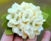 Spring Hydrangea Flower - Wool Felt Pin or Hair Clip