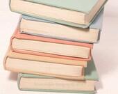 Vintage Pastel Books Photography Print Pale Pink Mint Green Light Blue Light Yellow Wall Art Home Decor 5x7