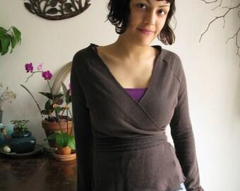 Sale //Small//Hemp and Organic Cotton Terry // Luxurious Plush Wrap Sweater // Cross-over, Tribal Wrap & Tie // eco Fashion