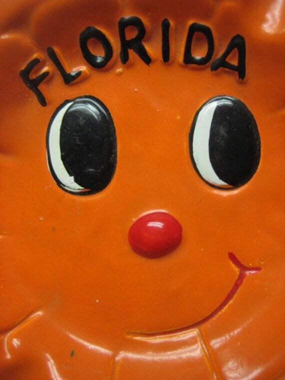 Vintage Retro Kitsch Florida Orange Ashtray Anthropomorphic Souvenir