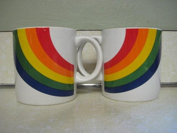 Vintage Rainbow Coffee Mug Tea Cup Set FTD 1984