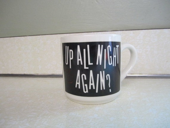 Vintage IMB All Nighter Figheter Personal System 2 Model 25 Collegiate Coffee or Tea Mug Cup Souvenir