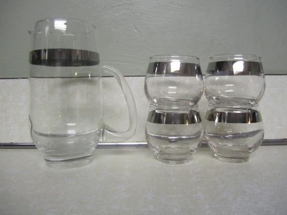 Vintage Set of Silver Trimmed Low Ball Cocktail Glasses Barware Set  Mid Century Modern Don Draper Mad Men ReTRo Bar Ware