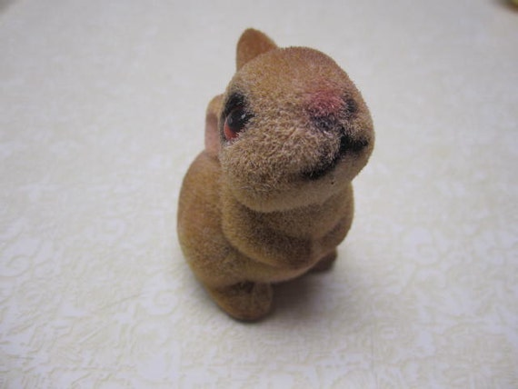 hold for momoelinda Vintage Flocked Plastic Easter Bunny Rabbit Figure Very Kitschy