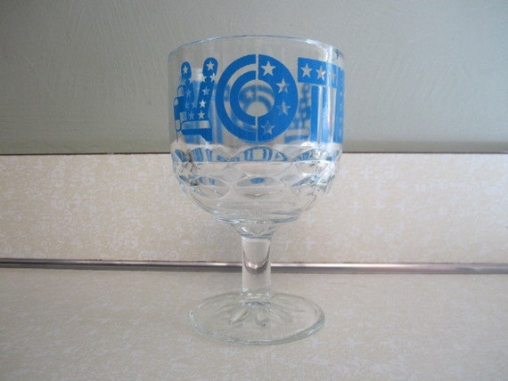 Vintage VOTE Goblet Beer Drinking Glass Peace Sign  1970's  PatrioticWhite and Blue America Flag Bicentennial