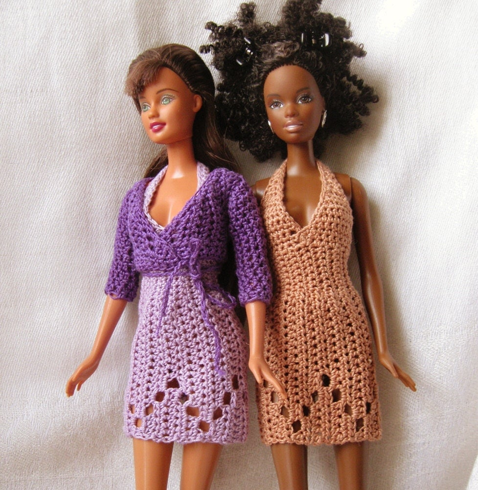 Crocheting Doll Clothes : Barbie doll crochet pattern- halter dress and wrap sweater by ...