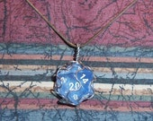 Transparent Blue D20 Wire Wrapped