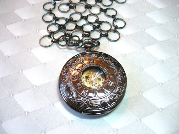 Steampunk Gunmetal Skeleton  Pocket Watch