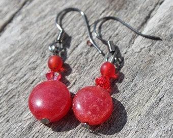 Simple Red Earrings