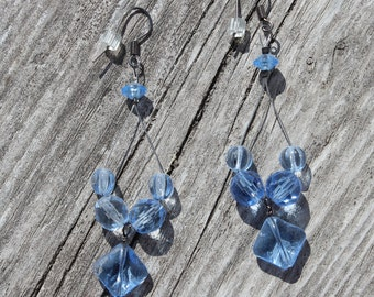 Earrings - Blue glass beaded