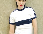 Vintage 70s Adidas / navy and white / Ringer tee shirt / striped  Tshirt / XS-S