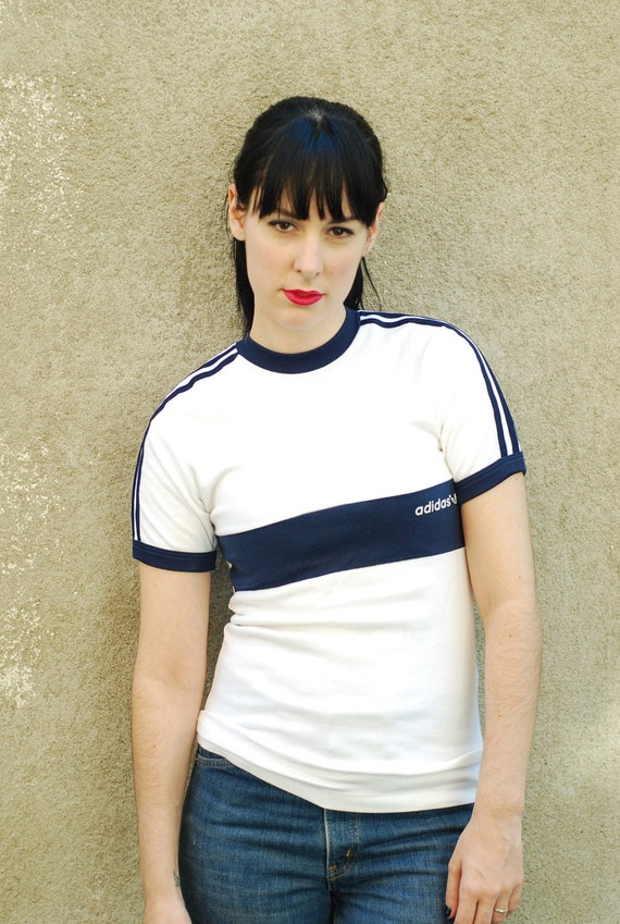 Vintage 70s adidas navy and white ringer tee shirt for Adidas ringer t shirt