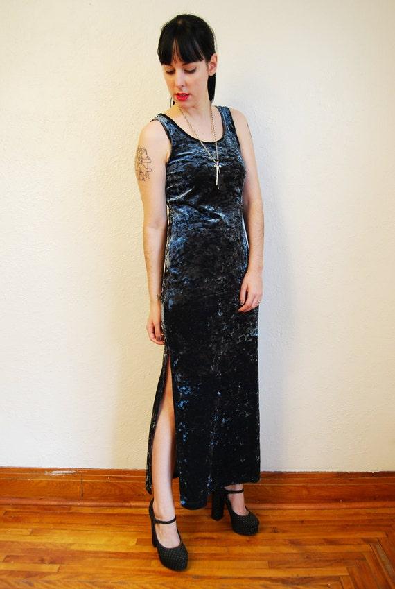 vintage 1990s / grunge / goth / velvet / dark turquoise / maxi dress / S