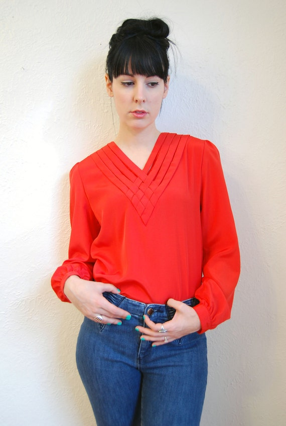 vintage 1980s / red blouse / V neck / silky / weaved collar / S-M