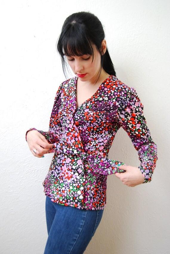 vintage 1970s / wrap / kimono / style / blouse / jacket / floral / puff sleeve / S