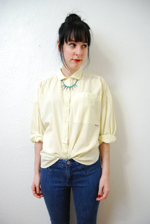 vintage 1980s / pastel yellow / over size / button up / cotton / blouse / S-M