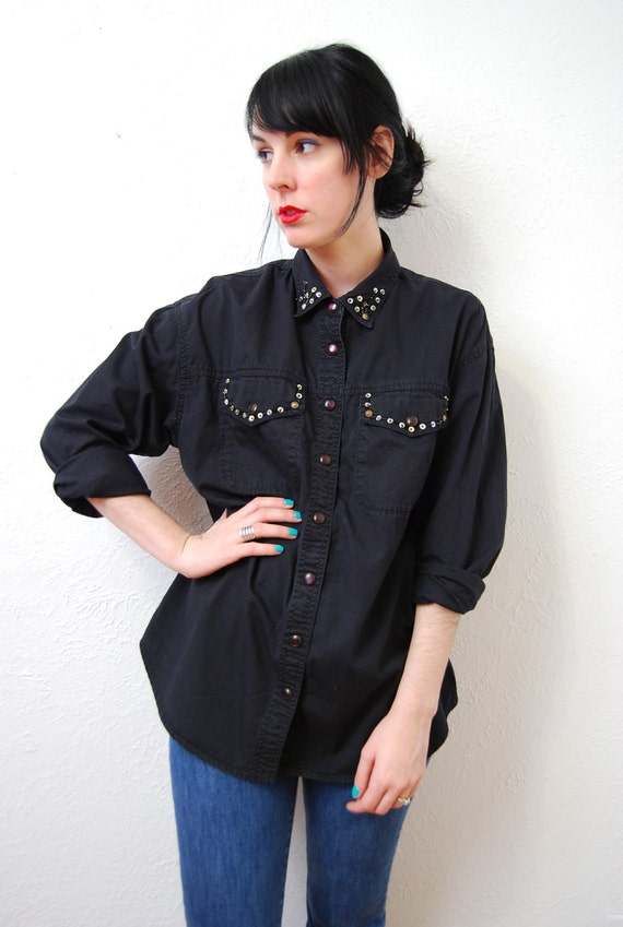 vintage early 90s / black / sequin and beaded / collar / over size / shirt / blouse / M