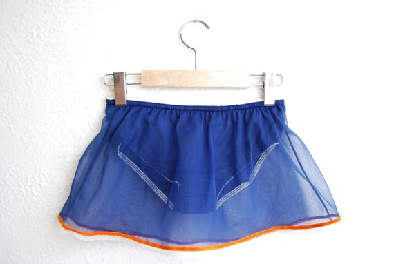 vintage 1960s / micro kini / NOS / navy and orange / panties and slip / sheer / lace / S