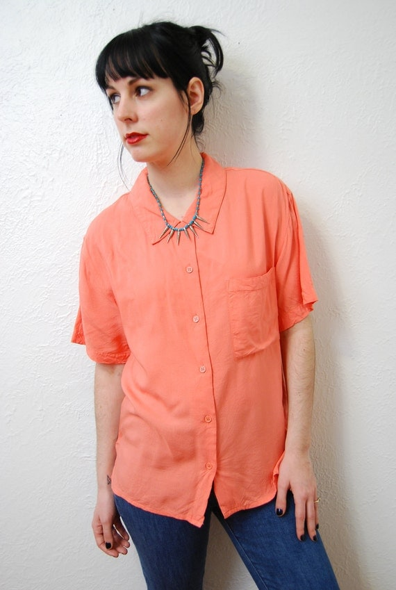 vintage 1990s / peach blossom / peter pan collar / over size / blouse / S-M