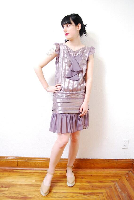 vintage 1990s / 90s does 20s flapper dress / chiffon / heart cutout / pastel / mauve / purple / S