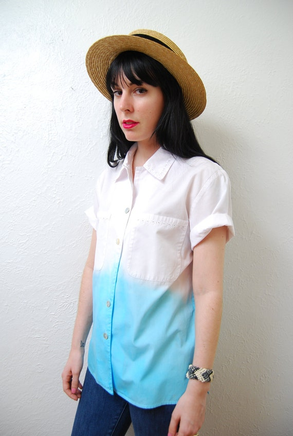 Up cycled / YeYe Ombre / over size / pointed collar / blouse / S-M
