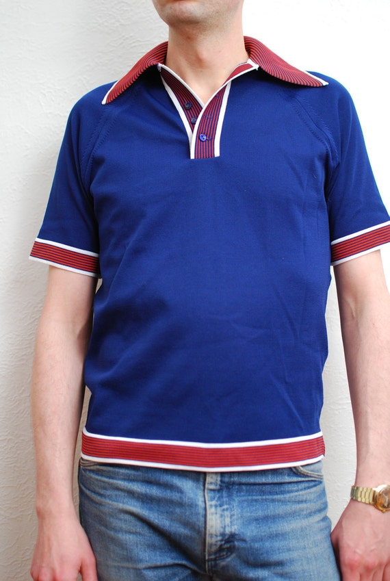 vintage 1960s / yeye menswear / mod / blue,white and red / polo / knit / tee shirt / M
