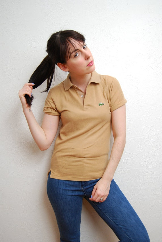 vintage 1980s / Lacoste / taupe / extra small / polo / tee shirt / preppy 80s / S