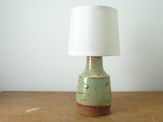 Hand Thrown Ceramic Bottle, Mini Table Lamp