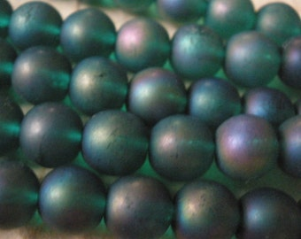 Vintage Glass Beads (12) Emerald Green with AB Frosted Beads