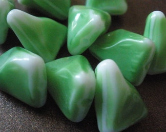 Vintage Glass Beads (8) Lime Green and White Glass BEAds