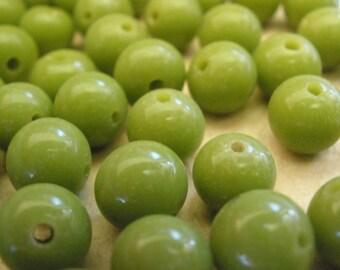 Vintage Glass Beads (12)(8mm) Pea Green Japanese Handmade Bead