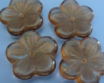 Vintage Glass Beads (4) Taupe Flower Beads
