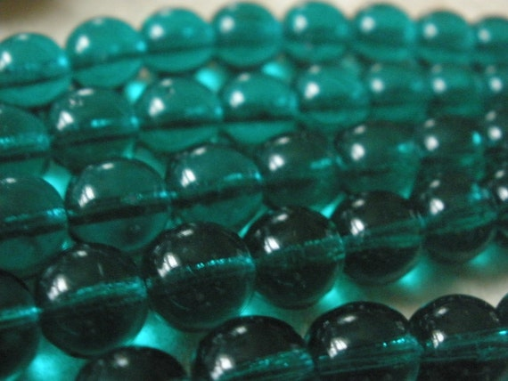 Vintage German Glass Beads (14) Teal Green BEAds