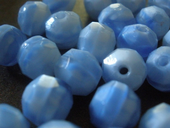 Vintage Glass BEads (14) German Faceted Washed Denim Beads