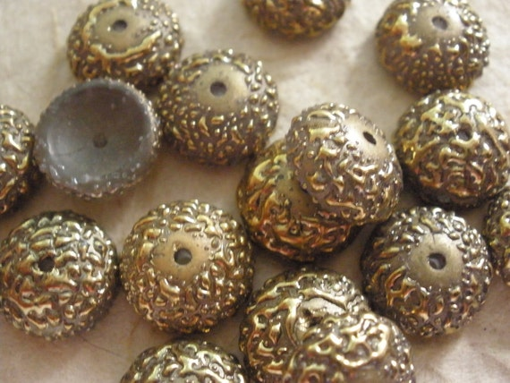 Vintage Glass Beads (2) Acorn Top or Bead Cap Gold Beads