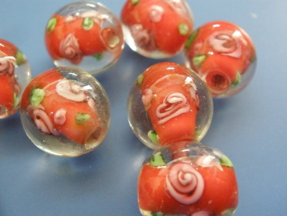 Vintage Glass Beads (4) Roses Red Handmade Beads