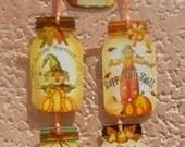Vintage Fall Scarecrow pumpkins Mason Jar Hang Tags  FREE Shipping