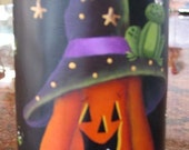 Halloween Pumpkin Candle Faux