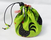 Sock knitting/small project drawstring bag. Hens on the green UK seller