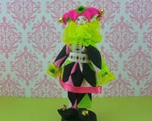 Harlequin Clown Jester Doll Art in Lime Green and Pink