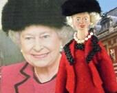 Art Doll Queen Elizabeth II in Red Coat Dress With Black Hat