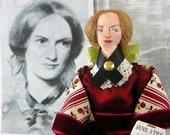 Charlotte Bronte  Miniature Doll Author of Jane Eyre in Burgundy Silk Dress
