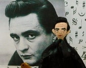Johnny Cash Doll Miniature  Man in Black Country Music Fan Gift