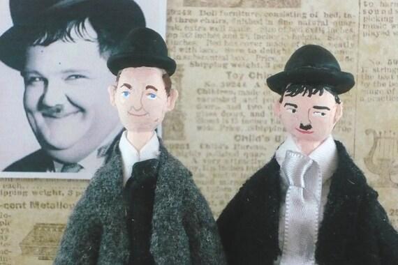 Art Dolls Old Hollywood Laurel and Hardy Miniature Art  Set
