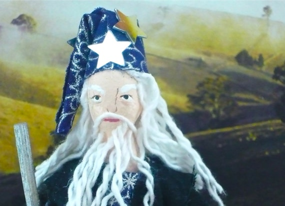 Merlin the Magician From King Arthur Miniature Character Art Doll