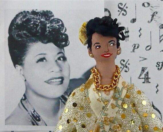 Ella Fitzgerald Doll Miniature Jazz Singer Art Collectible
