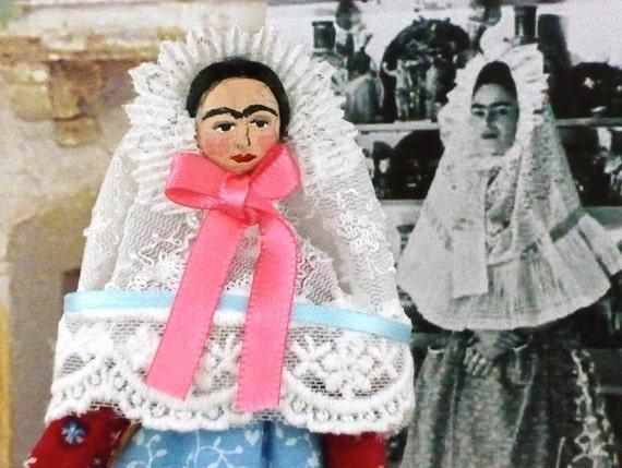 Frida Kahlo Doll Miniature Art In Lace Veil