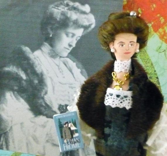 Wooden Art Doll Edith Wharton in Furs Classics Author
